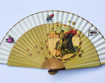 Vintage Spanish Wooden Fan, Wood and Linen Bullfighting Fan, Hand Painted Details, Folding Corrida Hand Fan, 1950s, 01462