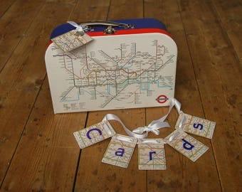 London Underground wedding card suitcase