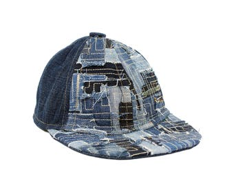 baseball cap upcycled - denim patch