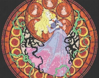 "ON SALE Counted Cross Stitch Patterns - Sleeping beauty - stained glass - 20.14"" x 19.85"" - L786"