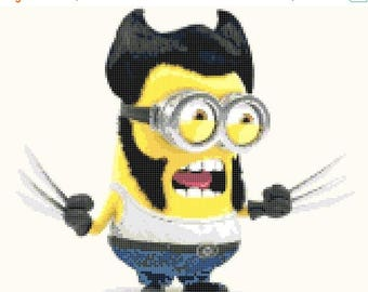 "minion wolverine cross Stitch minion Pattern needlework needlepoint needlecraft Kräiz Stitch korss - 10.86"" x 9.50"" - L435"