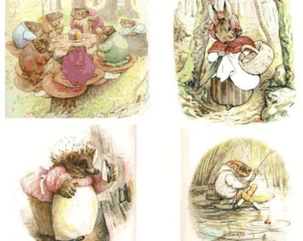 """six scenes with characters by beatrix potter  - counted Cross Stitch Pattern chart pdf format - 27.57"""" x 36.50""""  - L1146"""