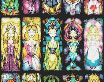 "Disney princesses Counted Cross Stitch disney pattern stained glass pattern needlepoint needlecraft - 21.64"" x 35.21"" - L748"
