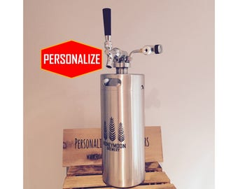 Personalized Beer Growler with real CO2 dispensing kit - Laser Engraved with your own Design