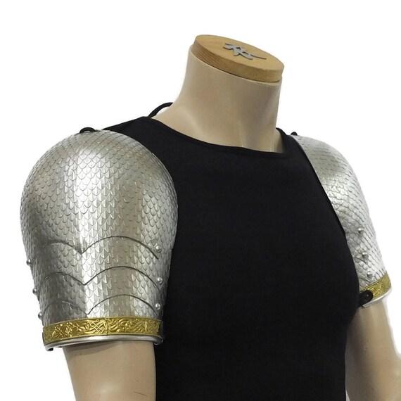 Larp Armor, Wyrmwick celtic, saxon, viking scaled shoulders, pauldrons, spaulders, spalders SCA, LRP, Theatrical