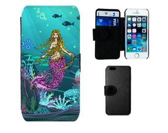 Mermaid Wallet phone case iPhone 6S, 6, Plus SE 8 7 X 5S 5C 4S, Samsung Galaxy flip S8 Plus S7 S6 Edge, S4, S5 Mini, mermaid gifts. F370