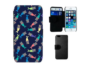 Wallet Flip case Samsung Galaxy S8 Plus, S7 S6 Edge, S4, S5 Mini, iPhone X 8 7 6S, 6, Plus, SE 5S 5C 5 4S cat mermaid phone cover. F382