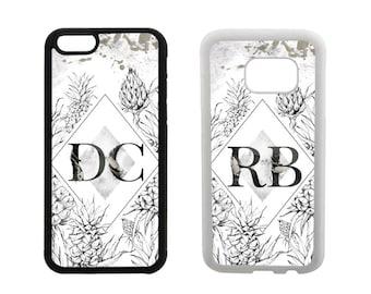 Monogram phone case iPhone 5S 5C SE 6S 6 7 8 Plus X 5 4S, Samsung Galaxy S8 Plus, S7 S6 Edge, Note 5, S5 S4, pineapples rubber cover. M102