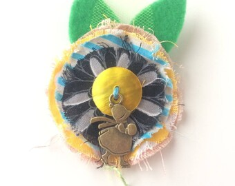 Kids black flower and yellow heart - textile brooch - hair jewelry hair clip