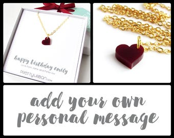 Personalised Gift for Her – Gold Pendant Necklace – Best Friend Gift – Small Red Heart Necklace – Personalised Necklace – Birthday Gift