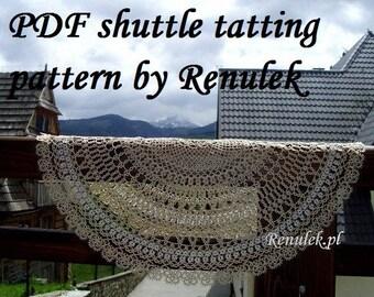 napkin HONEY. PDF Original Shuttle Tatting Pattern by Renulek Instant Digital Download. Tatting yourself gift. schemat frywolitki