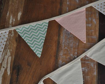 Gold, mint and peach bunting