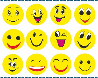 Emoji Clipart, Emoji PNG, Emoticons Collage Clip Art, Smiley Face Feelings Clipart, Feelings Clipart, Digital Art, Instant Download