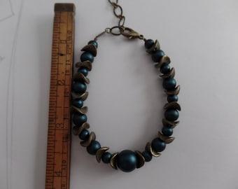Brass and blue bracelet