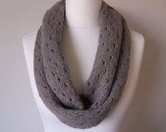 GetWoolly handknitted soft grey, gray, delicate, infinity scarf