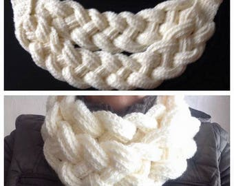 Crochet braided/plaited scarf, cowl, neckwarmer