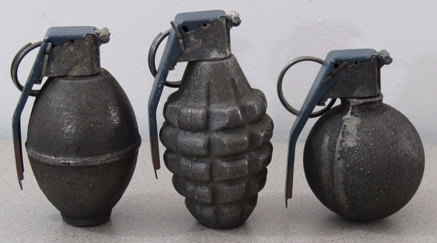 3 Lot Of Vintage Hand Grenades Empty Pineapple Lemon
