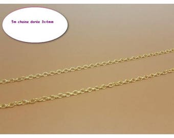 5 m gold 4x3mm chain