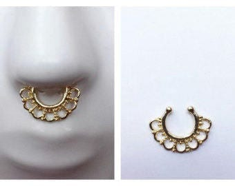 Faux septum ring, Gold in color, Tribal jewelry, Nose Ring