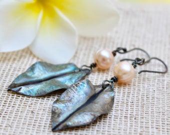 Artisan earrings, Rustic earrings, Artisan leaf earrings, Leaf jewelry, Silver leaf earrings, Earthy earrings, Dangle leaf earrings, Leaf