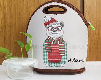 Personalized lunch bag Monogrammed Animal Planet lunch bag waterproof thermal insulation bag bear with glasses portable bag