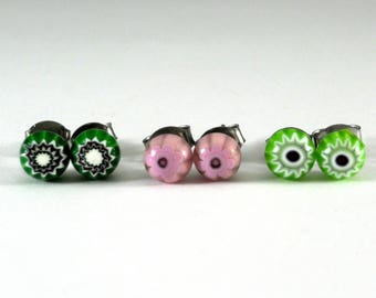 Surgical Steel Stud Earrings, Green Pink Lime Small Millefiori Flower Earrings, Gift for Her