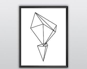 50% Off Geometric Print Wall Prints Black And White Print Print Art Abstract Prints Geometrical Geometric Print Art Black And White (T162)