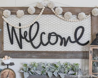 """39"""" Long Handwritten Welcome MDF Cutout   Start at Home   Typography   Wood Cutout   Wood Word   MDF cutout   Wood Word   Entry Way  """
