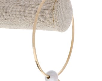 Freshwater Pearl Bangle in Gold