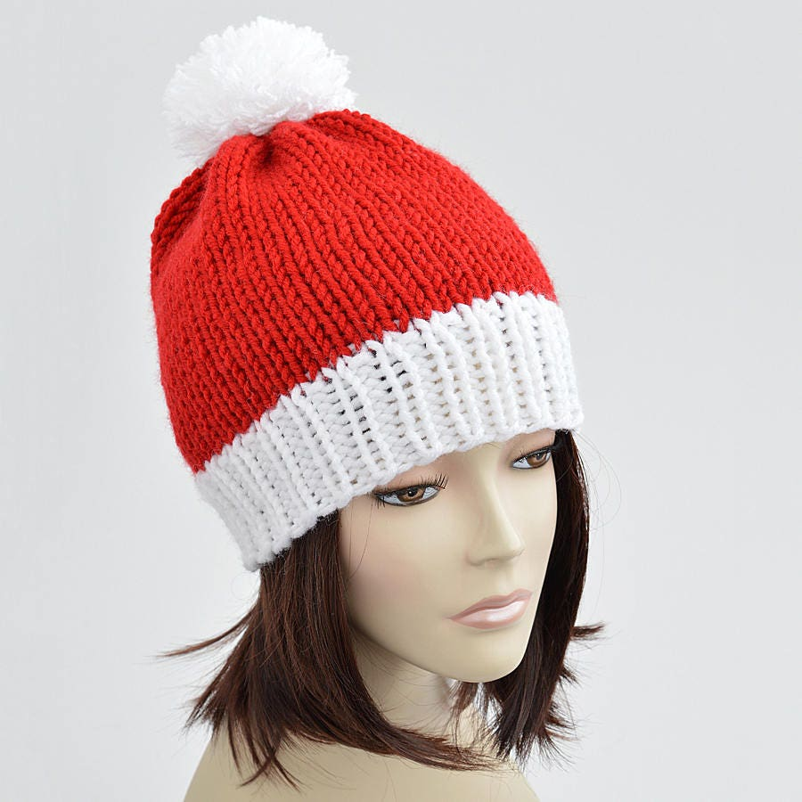 Christmas hat knitting pattern pdf santa hat pattern pom pom this is a digital file bankloansurffo Choice Image