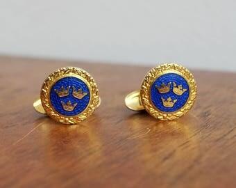 1930's Royal Blue Enamel Three Crowns of Sweden Cufflinks