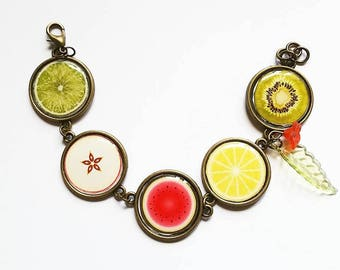 Bracelet cabochon: fruit salad