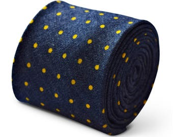6 x Frederick Thomas 100% cotton tie in navy blue and yellow spot design  FT3386