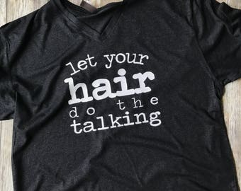 Let your hair do the talking, Monat racerback tank or tee