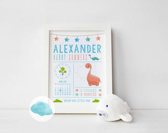 Personalised Dinosaur Themed Baby Print