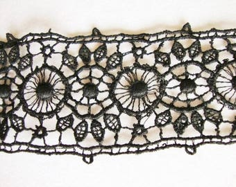 """Black Lace Trim Vintage for Crafts, sewing, doll cloths, 2"""" Wide, Hand Made, Steampunk"""