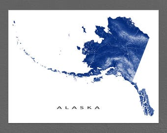 Alaska Map Art Print, Alaska State, State Outline, Anchorage, Juneau, Seward, Ketchikan