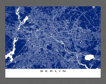 Berlin Map, Berlin Germany Map Print, Europe City Street Art