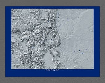 Colorado Map, Colorado Wall Art, CO State Art Print, Landscape, Navy Blue