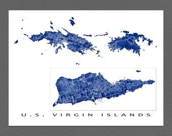US Virgin Islands Map Print, USVI Art, St Thomas, St Croix, St John