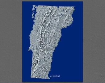 Vermont Map, Vermont Wall Art, VT State Art Print, Landscape, Navy Blue