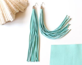 Mint tassel earrings, Fringe earrings, Statement Earrings, Tassel Jewelry, Leather Earrings, Chandeliers