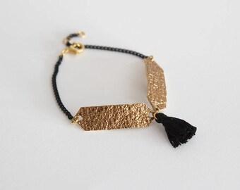 Tassel bracelet / Leather bracelet/Black chain bracelet/Leather bracelet/Friendship bracelet/Gift fot her/