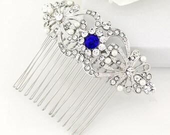 Something Blue Bridal Hair Piece, Royal Blue Wedding Comb, Sapphire Blue Bridal Comb, Blue Rhinestone Hair Clip, Blue Bridesmaid Comb Gift