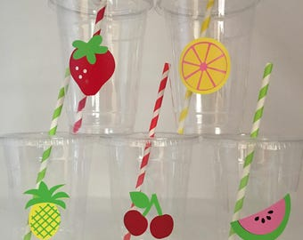 Fruit party cups, Tutti Fruity party cups, tutti frutti party cups, Fruit Baby Shower Cups, Fruit Party Favors, Fruit Birthday Party Cups
