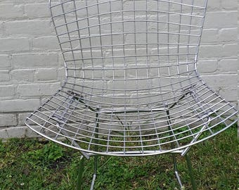 original vintage knoll chrome wire chairs harry bertoia design circa