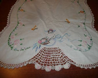 Embroidered Lady With Crocheted Skirt Dresser Scarf
