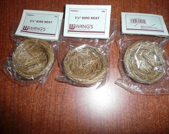 """Wang's 2 1/4"""" Bird Nests, 2 White Plastic Bird Eggs Packages 1"""" 6 Each , 7 3 1/2 Inch Unmarked Nests, 1 4 Inch Bird Nest, Speckled Eggs"""
