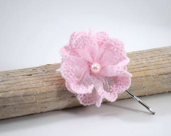 Pink lace flower on hair clip