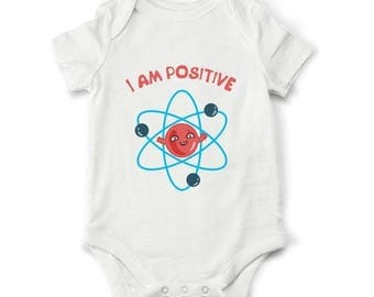 20% Funny baby bodysuit - Positive electron baby bodysuit, science bodysuit, funny baby shower gift, baby gift, cute baby clothes, geek body